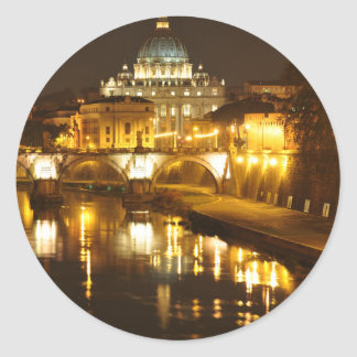 Pegatina Redonda Ciudad del Vaticano, Roma, Italia en la noche