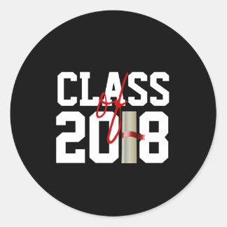 Pegatina Redonda CLASE de 2018 pegatinas