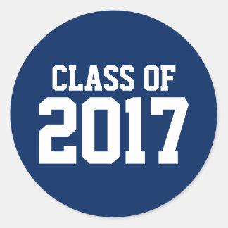 Pegatina Redonda Clase de texto de 2017 blancos en la graduación