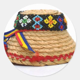 Pegatina Redonda clop el gorra tradicional
