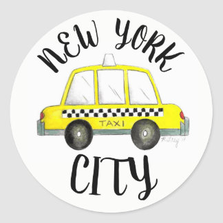 Pegatina Redonda Coche a cuadros amarillo del taxi de New York City