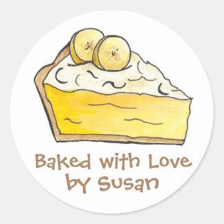 Pegatina Redonda Cocido con la tarta de crema personalizada amor