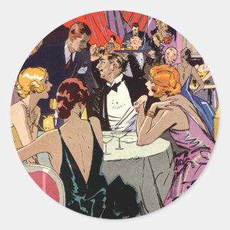 Pegatina Redonda Cóctel del art déco del vintage en el club