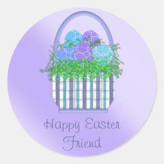 Pegatina Redonda Colección de la cesta de Pascua