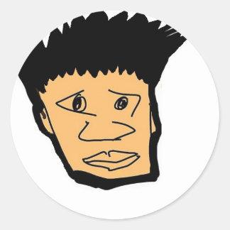 Pegatina Redonda colección filipina de la cara del dibujo animado