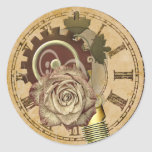 Pegatina Redonda Collage de reloj de vintage