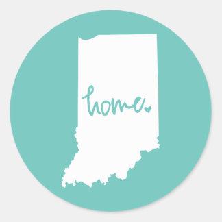 Pegatina Redonda Color casero del personalizado de Indiana