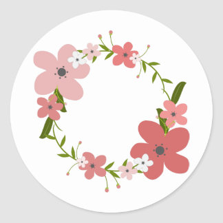 Pegatina Redonda Color de rosa coralino rosado, flores de la