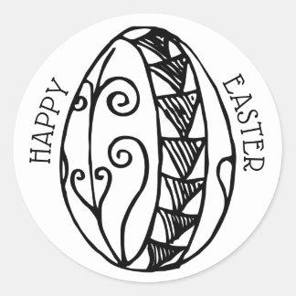 Pegatina Redonda Coloree su propia Pascua dibujada mano Pascua