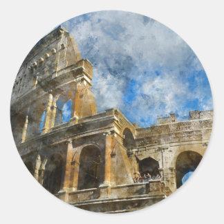Pegatina Redonda Colosseum en Roma antigua Italia