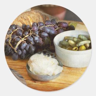 Pegatina Redonda Comida - fruta - pepinillos y uvas