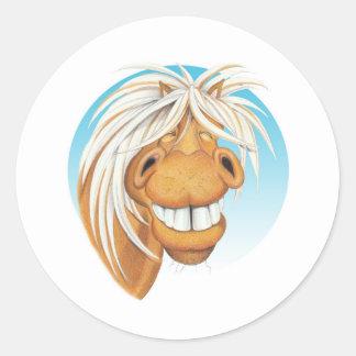 """Pegatina Redonda Compañero del caballo de Equi-toons """"Chappie"""