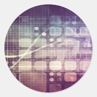 Pegatina Redonda Concepto abstracto futurista en tecnología
