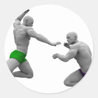 Pegatina Redonda Concepto de los artes marciales para luchar y la