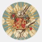 Pegatina Redonda Conejo del blanco de Alicia del vintage