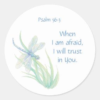 Pegatina Redonda Confianza del 56:3 del salmo de la escritura de la