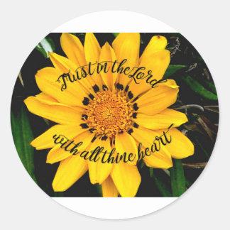Pegatina Redonda Confianza en el señor Bright Yellow Flower