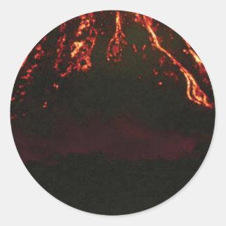 Pegatina Redonda cono volcánico llano