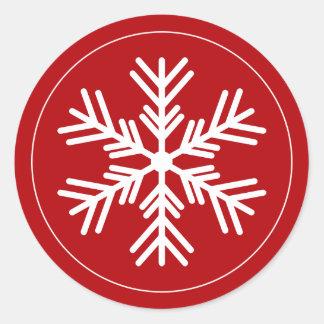 Pegatina Redonda Copo de nieve blanco en rojo