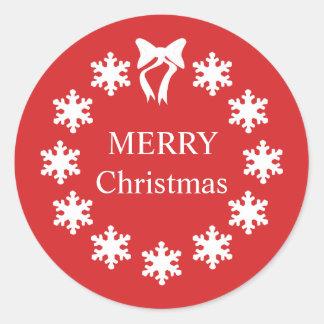 Pegatina Redonda Copos de nieve elegantes del rojo del navidad