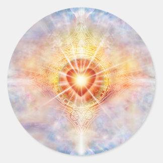 Pegatina Redonda Corazón celestial H038