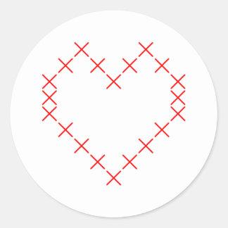 Pegatina Redonda Corazón cruzado de la puntada