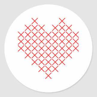 Pegatina Redonda Corazón de la puntada de la Cruz Roja