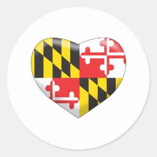 Pegatina Redonda Corazón de Maryland
