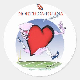 Pegatina Redonda corazón principal de Carolina del Norte, fernandes