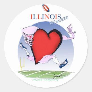 Pegatina Redonda corazón principal de Illinois, fernandes tony