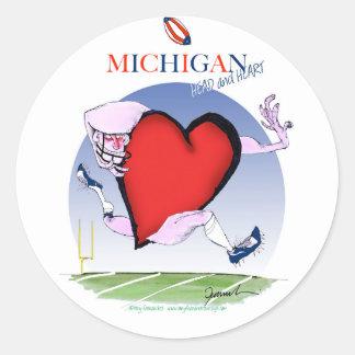 Pegatina Redonda corazón principal de Michigan, fernandes tony