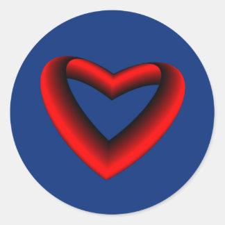 Pegatina Redonda Corazón rojo y negro de la pendiente