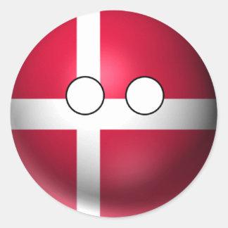 Pegatina Redonda Countryball Dinamarca - expresión neutral