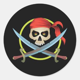 Pegatina Redonda cráneo 3D y bandera pirata