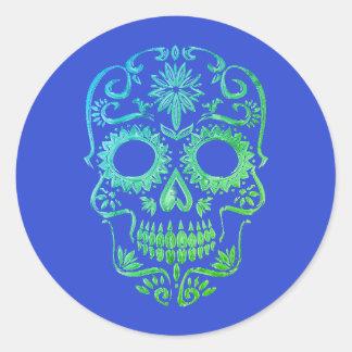 Pegatina Redonda Cráneo azul y verde del azúcar/día de los