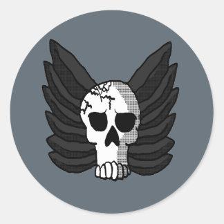 Pegatina Redonda Cráneo con alas
