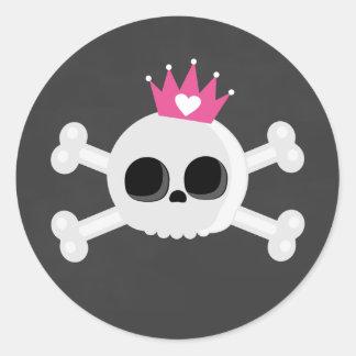 Pegatina Redonda Cráneo de Emo con la corona