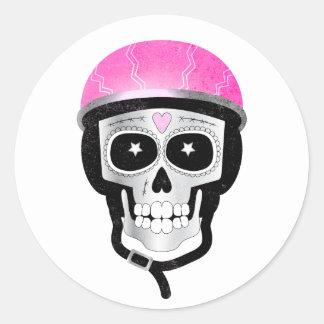 Pegatina Redonda Cráneo del azúcar del motorista o del ciclista