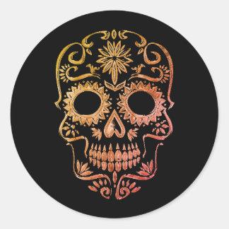 Pegatina Redonda Cráneo negro/anaranjado del azúcar/día de los