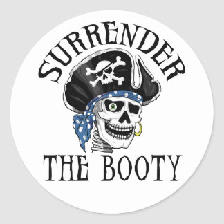Pegatina Redonda Cráneo tuerto y bandera pirata del pirata