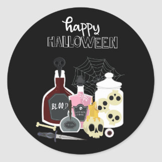 Pegatina Redonda Cráneos y feliz Halloween de los ilustraciones de