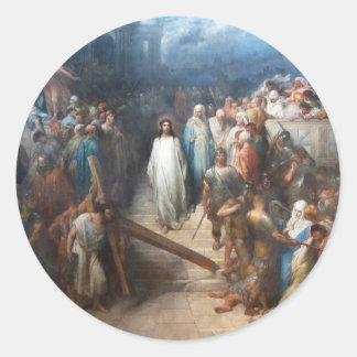 Pegatina Redonda Cristo que deja el Praetorium