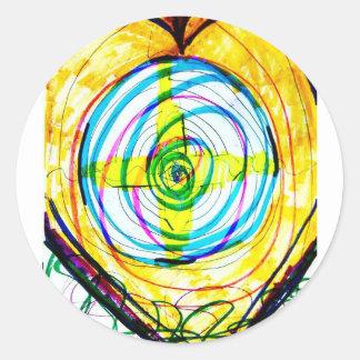 Pegatina Redonda Cruces de Cartoids del fractal y la banda espiral