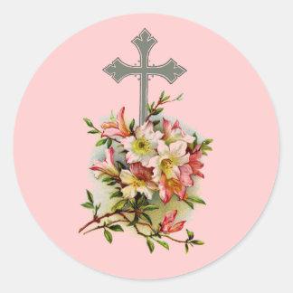 Pegatina Redonda Cruz cristiana floral