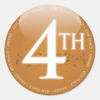Pegatina Redonda Cuarto 4to) premio del lugar (