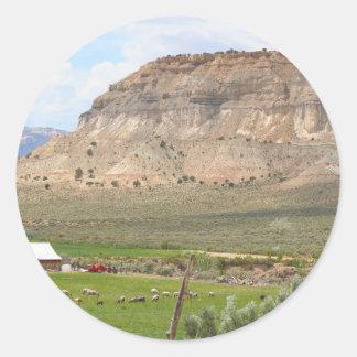 Pegatina Redonda Cultivo del país y de las colinas, Utah meridional