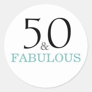 Pegatina Redonda cumpleaños de la tipografía de 50 y del Fabulous|