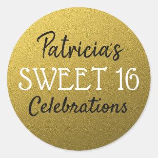 Pegatina Redonda Cumpleaños del dulce 16 del purpurina del oro