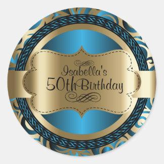 Pegatina Redonda Cumpleaños del extracto del remolino del azul y