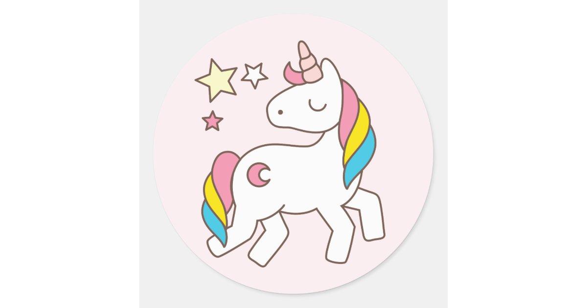 Pegatina redonda cumplea os unicornio lindo con las for Pegatinas de pared infantiles